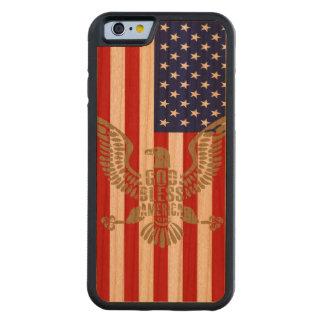 Dieu patriote de drapeau américain bénissent coque iPhone 6 bumper en cerisier