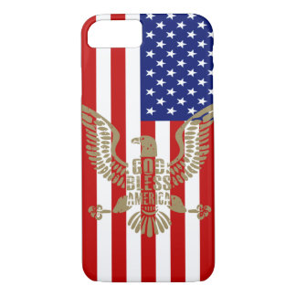 Dieu patriote de drapeau américain bénissent coque iPhone 7