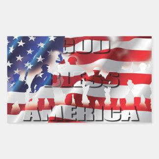 Dieu patriote de drapeau américain bénissent sticker rectangulaire