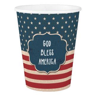 Dieu vintage de drapeau des USA bénissent les Gobelets En Papier