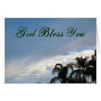 Dieu vous bénissent ciel d'arbres carte de vœux