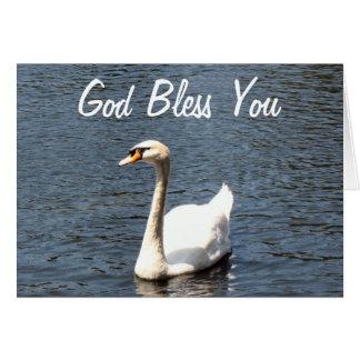 Dieu vous bénissent le cygne blanc carte de vœux