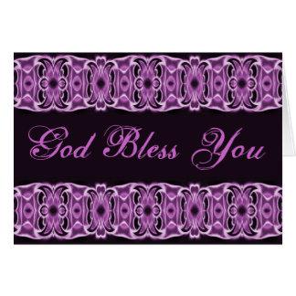 Dieu vous bénissent noir pourpre carte de vœux