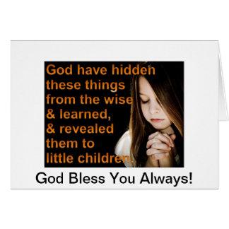 Dieu vous bénissent toujours ! carte de vœux