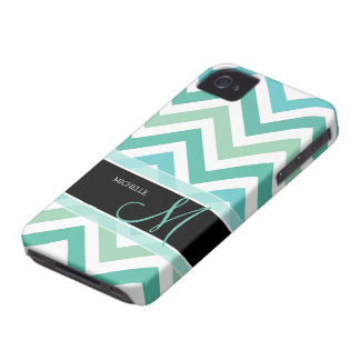 Differenct shades of green Chevron pattern iPhone 4 Case-Mate Cases