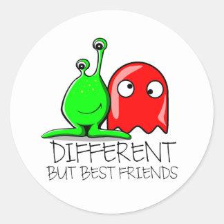 DIFFERENT BUT BEST FRIENDS ROUND STICKER