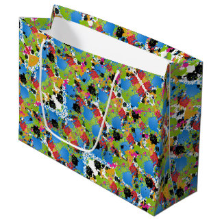 Different Colors Of Paint Splashes On White Large Gift Bag