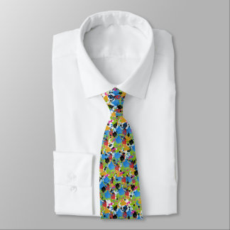 Different Colors Of Paint Splashes On White Tie