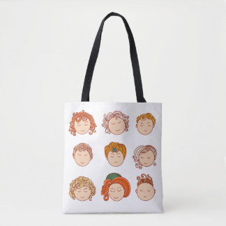 Different cute faces tote bag