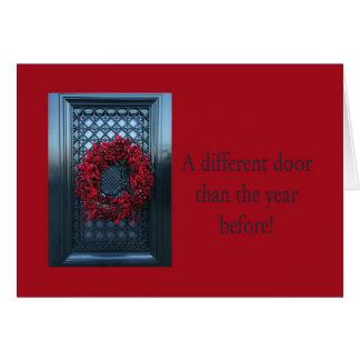 Different door - Christmas wreath new address card