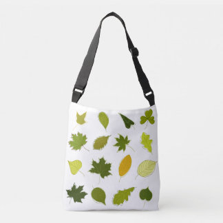 Different green leaves crossbody bag