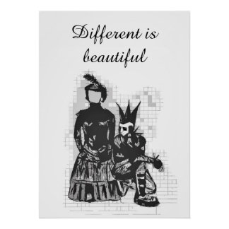 Different is Beautiful Goth Woman & Punk guy Poster