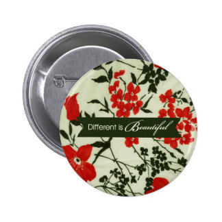 Different is beautiful vintage floral 2 inch round button