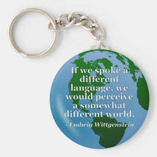 Different language different world Quote. Globe Key Chains