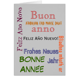 Different Languages Happy New Year Card