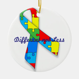 Different not Less Autism awareness circle ornamen Ceramic Ornament