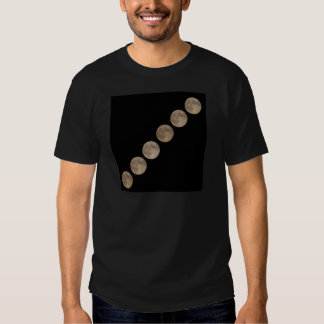Different phases of rising full moon tee shirts