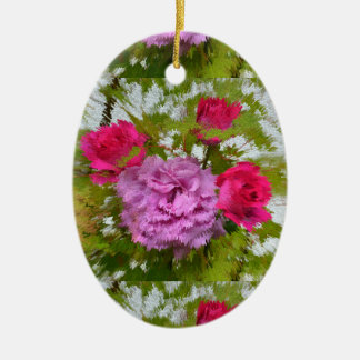 different roses in the maple tree, close-up, ceramic oval ornament