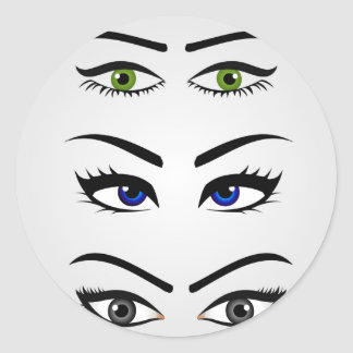 Different types of womens eyes classic round sticker