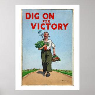Dig on For Victory War Poster Vintage
