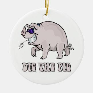 Dig the Pig Ceramic Ornament