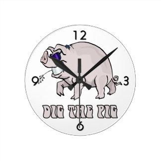 Dig the Pig Wall Clock