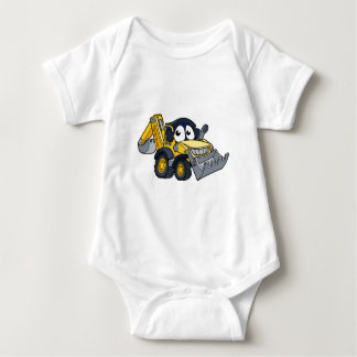 Digger Bulldozer Cartoon Character Baby Bodysuit