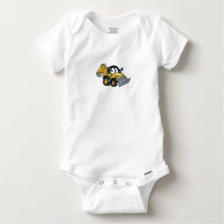 Digger Bulldozer Cartoon Character Baby Onesie