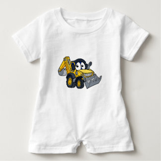 Digger Bulldozer Cartoon Character Baby Romper
