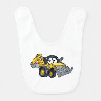 Digger Bulldozer Cartoon Character Bib