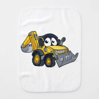 Digger Bulldozer Cartoon Character Burp Cloth
