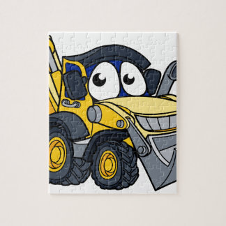 Digger Bulldozer Cartoon Character Jigsaw Puzzle