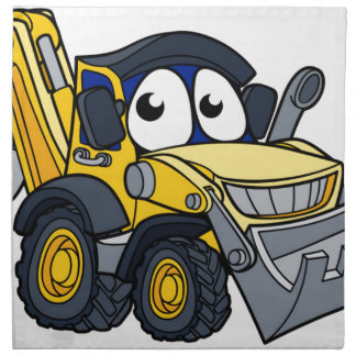 Digger Bulldozer Cartoon Character Napkin