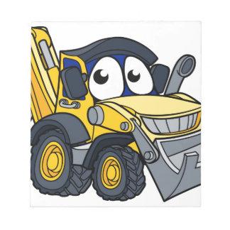 Digger Bulldozer Cartoon Character Notepad