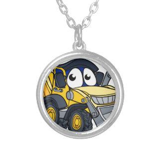 Digger Bulldozer Cartoon Character Silver Plated Necklace