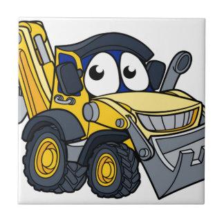 Digger Bulldozer Cartoon Character Tile