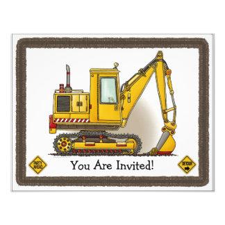 Digger Shovel Kids Party Invitation