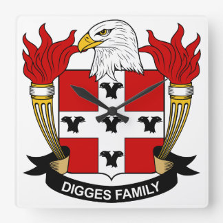 Digges Family Crest Wall Clock