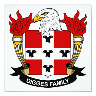 Digges Family Crest Personalized Invitations