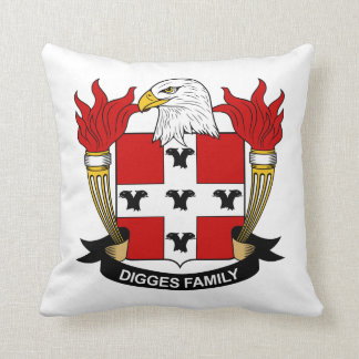 Digges Family Crest Throw Pillow