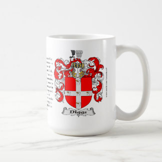 Diggs, the Origin, the Meaning and the Crest Basic White Mug