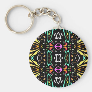 Digital Abstract Art Multicolored Pattern Keychain