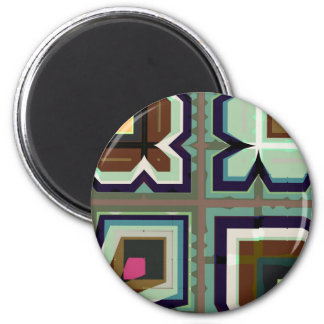 Digital Abstract - AsymGreenBlueBrown 2 Inch Round Magnet