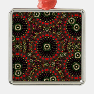 Digital Abstract Geometric Pattern in Warm Colors Silver-Colored Square Ornament