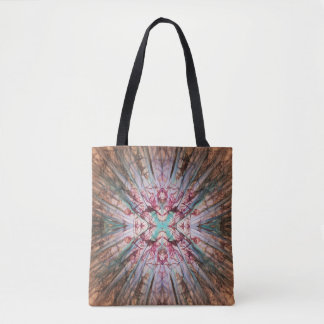 Digital Abstract Pattern in Rust, Red and Green Tote Bag
