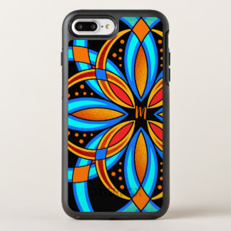 digital art blue orange mandala monogrammed OtterBox symmetry iPhone 8 plus/7 plus case
