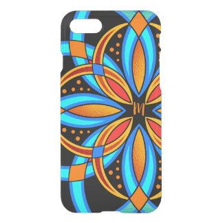 digital art blue orange monogrammed mandala iPhone 8/7 case