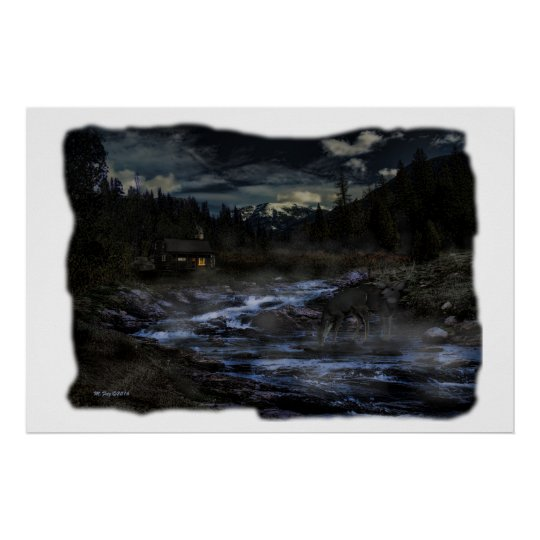 Digital Art Cabin by Stream with Deer Poster
