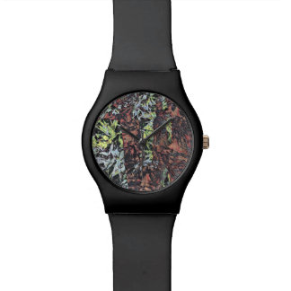 Digital art of floral flower pattern with tree wristwatch