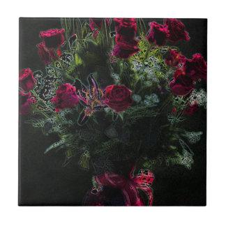 Digital Art Romantic Red Rose Bouquet Ceramic Tiles